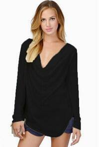Black Draped Neck Long Sleeve Slim T-Shirt