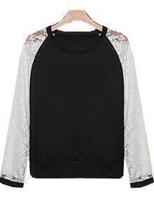 Sweat-Shirt contrasté en dentelle manche longue