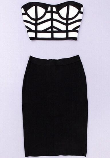 Black White Plaid Lingerie With Bodycon Skirt