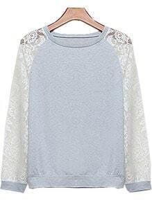 Grey Contrast Lace Long Sleeve Sweatshirt