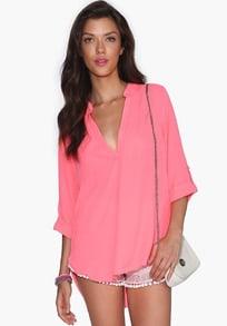 Pink V Neck Half Sleeve Loose Blouse