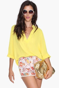 Yellow V Neck Half Sleeve Loose Blouse
