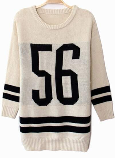 White Long Sleeve 56 Print Knit Sweater