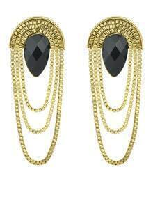 Black Drop Gemstone Gold Chain Earrings