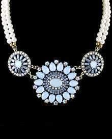 Blue Gemstone Round Bead Necklace
