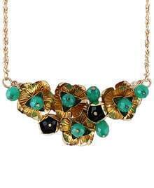 Gold Bead Flower Chain Necklace