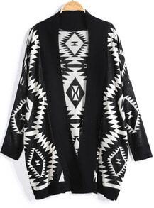 Black Long Sleeve Geometric Knit Cardigan