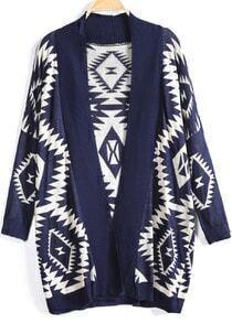 Blue Long Sleeve Geometric Knit Cardigan