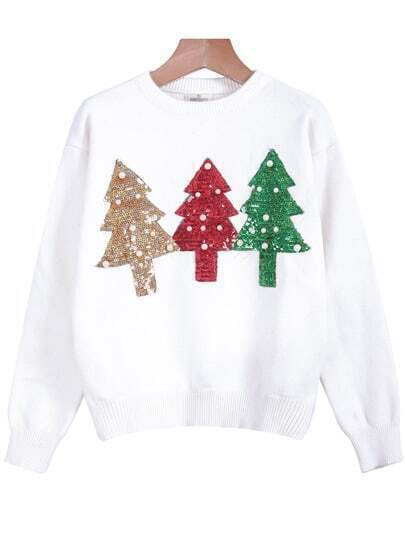 White Round Neck Long Sleeve Tree Sequined Sweater