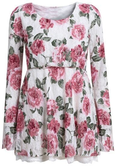 White Round Neck Long Sleeve Floral Print Lace Dress