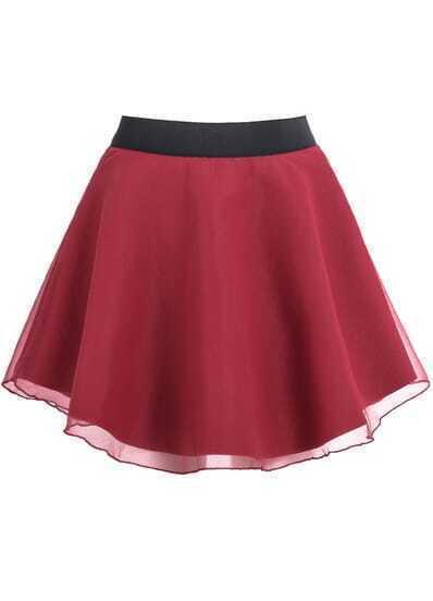 Red A-Line Woolen Skirt
