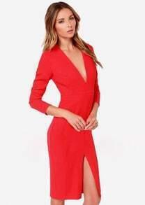 Red Deep V Neck Long Sleeve Split Dress