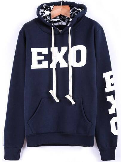 Blue Hooded Long Sleeve EXO Print Sweatshirt