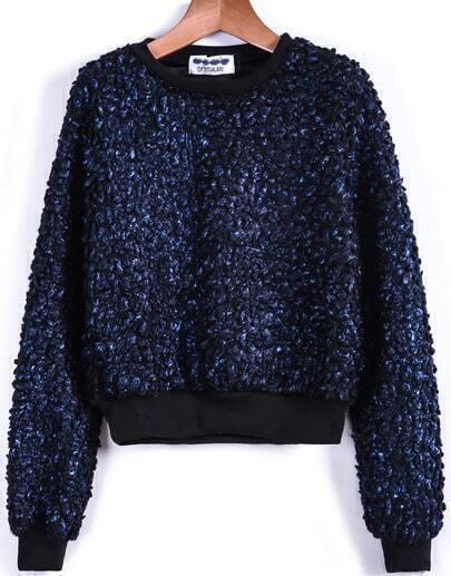 Blue Long Sleeve Crop Brilliant Sweatshirt