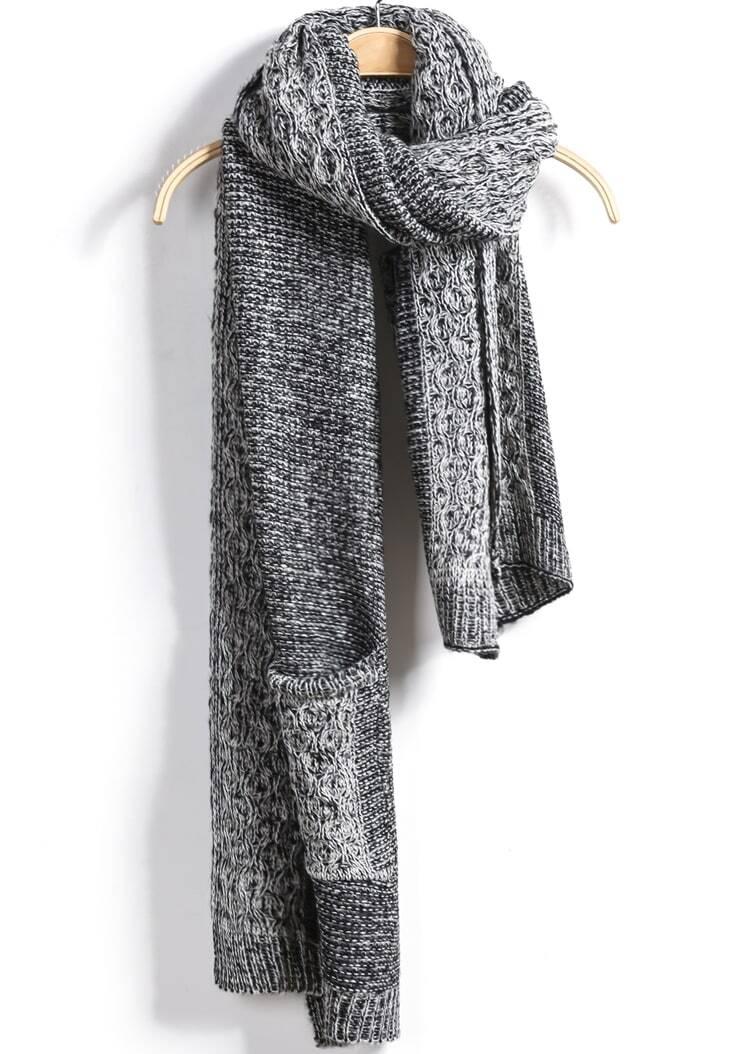 charpe la mode avec poches gris french shein sheinside. Black Bedroom Furniture Sets. Home Design Ideas