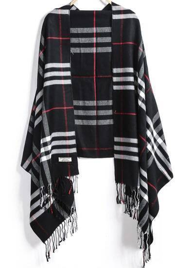 Black Plaid Tassel Scarves