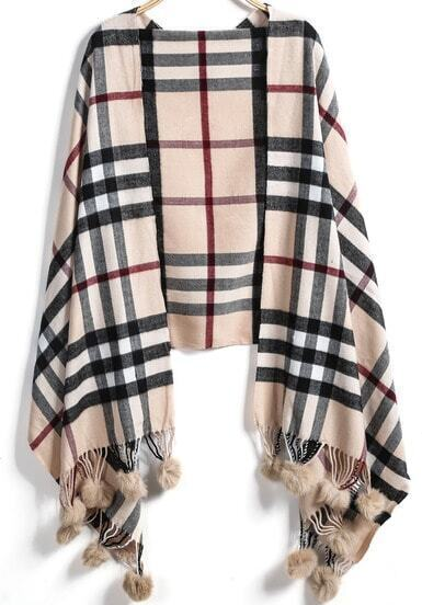 Apricot Plaid Twisted Ball Scarves