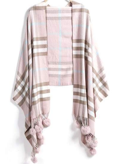 Pink Plaid Twisted Ball Scarves