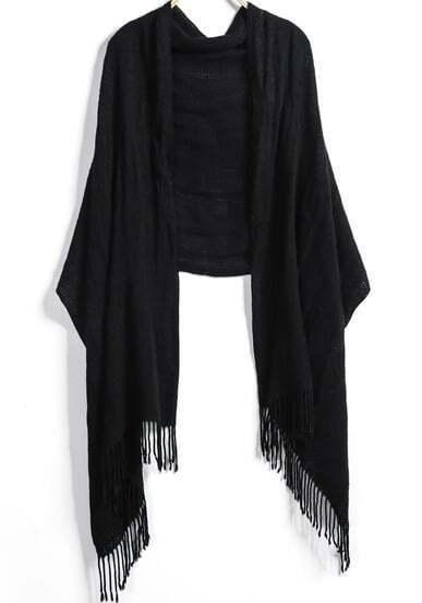 Black Pattern Tassel Scarves