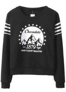Black Long Sleeve 1879 Print Sweatshirt