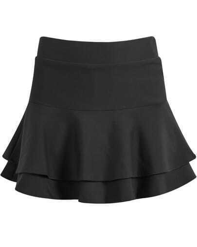 Black Double Layers Ruffle Skirt