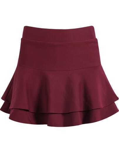 Red Double Layers Ruffle Skirt