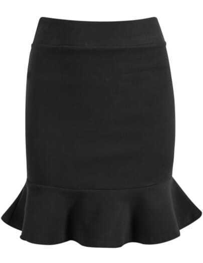 Black Bodycon Ruffle Skirt