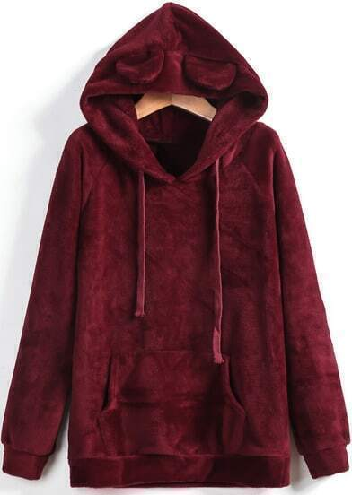 Wine Red Hooded Pockets Long Sleeve Drawstring Sweatshirt