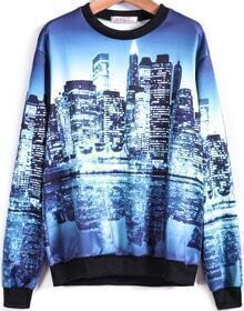 Blue Long Sleeve Building Print Sweatshirt