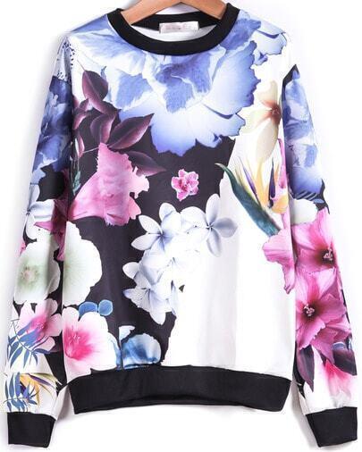 Blue Long Sleeve Floral Loose Sweatshirt