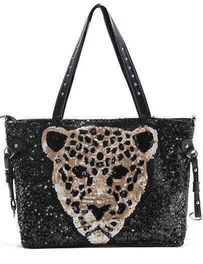 Black Tiger Sequins Shoulder Bag