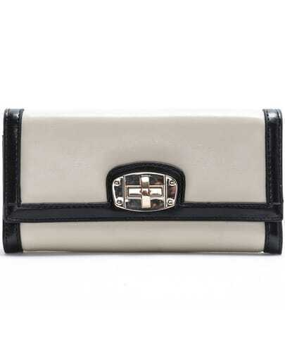 Beige Twist Lock Clutch Bag