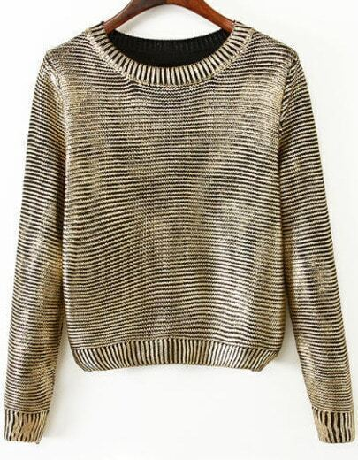 Gold Long Sleeve Vintage Crop Sweater