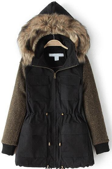 Black Faux Fur Hooded Pockets Slim Coat