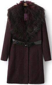 Wine Red Faux Fur Collar Slim Woolen Coat