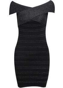 Black Off The Shoulder Skinny Bodycon Bandage Dress