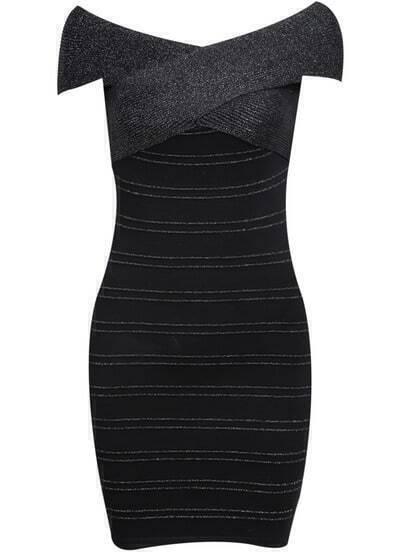 Black Off The Shoulder Skinny Bodycon Bandage Dress