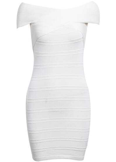 White Off The Shoulder Skinny Bodycon Bandage Dress