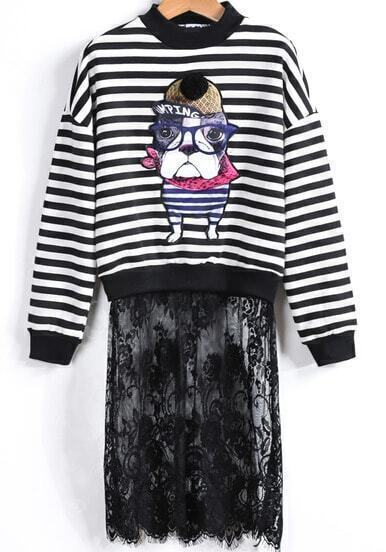 Black Dog Print Striped Contrast Lace Sweatshirt