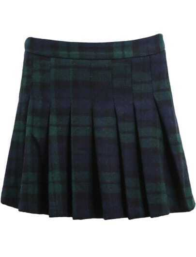 Blue Plaid Pleated Woolen Skirt