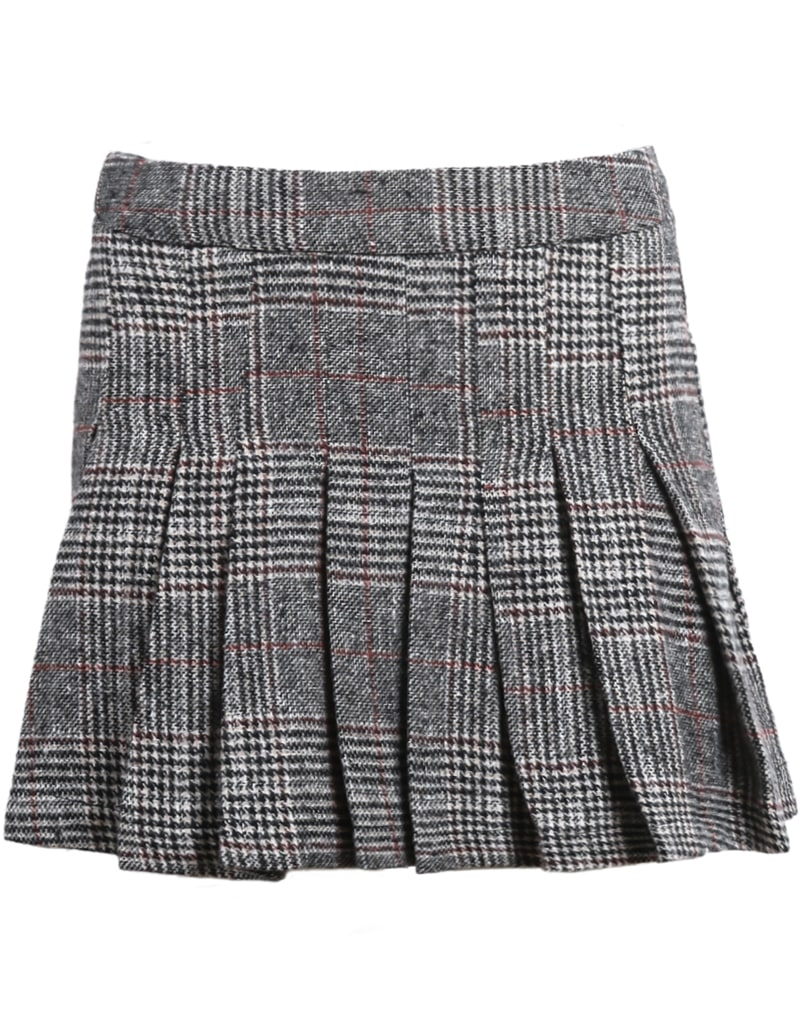 grey plaid pleated woolen skirt shein sheinside