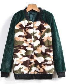 Green Long Sleeve Camouflage Print Outerwear
