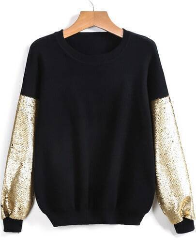 Black Round Neck Sequined Loose Sweater