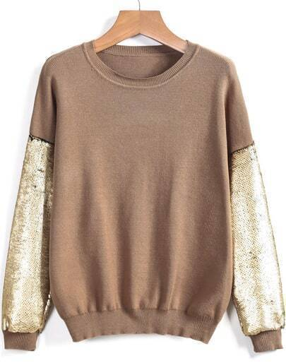 Khaki Round Neck Sequined Loose Sweater