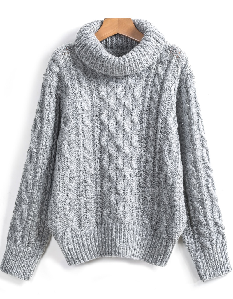 Grey High Neck Cable Knit Loose Sweater -SheIn(Sheinside)