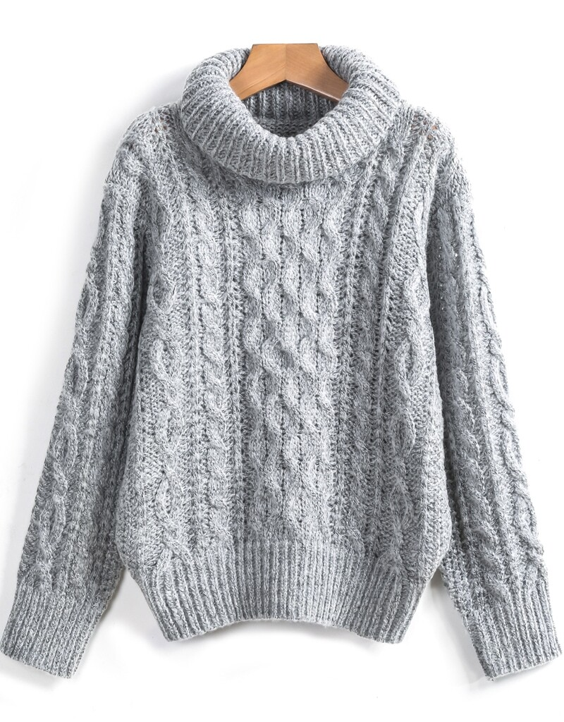 Sweater Knit : Grey high neck cable knit loose sweater shein sheinside