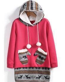 Rose Red Hooded Deer Pockets Sweatshirt