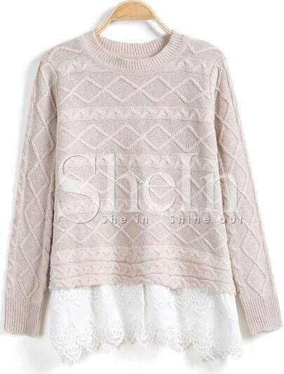 Apricot Long Sleeve Cable Contrast Lace Sweater