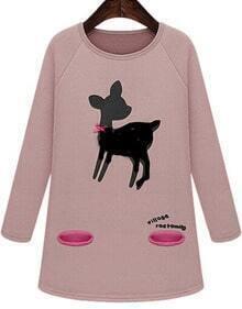 Pink Long Sleeve Bow Deer Print Sweatshirt