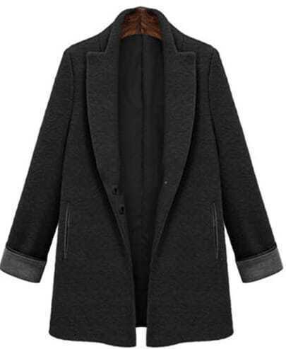 Black Lapel Long Sleeve Woolen Slim Coat